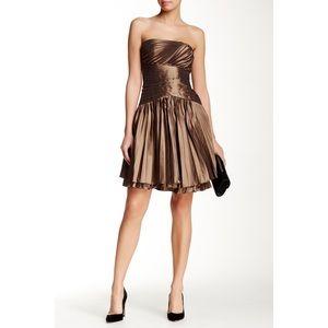 Halston Heritage Pleated Cocktail Dress